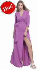 VIOLET MAXI FULL LENGTH WRAP DRESS LONG SLEEVE CROSSOVER DRESSES CASUAL ALL SIZE