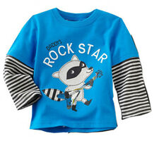 Kids Boys 100% Cotton Long Sleeve Blue Wolf Tops T-Shirts Baby Toddlers Clothing