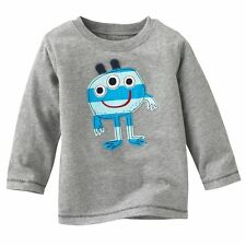 Kids Boys 100% Cotton Soft Long Sleeve Gray Tops T-Shirts Baby Toddlers Clothes