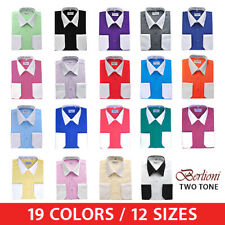 Berlioni Italy White Collar & Cuffs Mens Two Tone Dress Shirt 19 Colors & Sizes