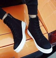Mens suede skate board sneaker lace up zip casual ankle boots hip hop dance shoe