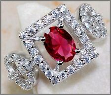 2CT Ruby & White Topaz 925 Solid Genuine Sterling Silver Ring Sz 8- US or P-UK