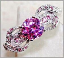 2CT Pink Sapphire 925 Solid Genuine Sterling Silver Ring Sz 7-US or Sz N-UK