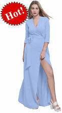 BLUE MAXI FULL LENGTH WRAP DRESS LONG SLEEVE CROSSOVER DRESSES CASUAL ALL SIZES
