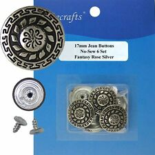17 mm No-Sew Black Silver Jean Tack 6 Buttons