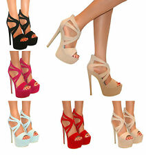 LADIES CUT OUT STILETTO PEEP TOE PLATFORM STRAPPY HIGH HEELS COURT SHOE SIZE