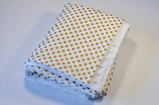 Handmade Gold Polka Dot Baby Minky Blanket Nursery Decor