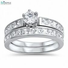 Wedding Engagement Anniversary Bridal Set Band Ring Sterling Silver Russian CZ