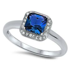 Halo Wedding Engagement Ring 925 Sterling Silver Deep Blue Sapphire Russian CZ