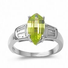 Cocktail Ladies Ring 925 Sterling Silver 2.65Ct Peridot Green Russian Ice CZ