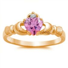 Claddagh Engagement Fidelity Ring 925 Sterling Silver Pink,Rose Gold Russian CZ