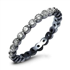 3MM Full Eternity Stackable Band Ring 925 Sterling Silver Black Gold Russian CZ