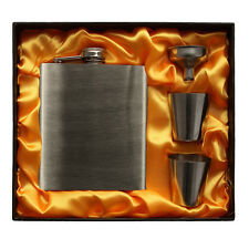 7oz Stainless Steel Hip Flask FREE Funnel Two Stainless Steel Cups  +Gift Box