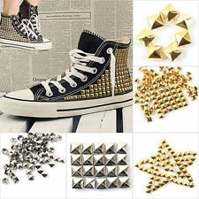 100pc Gold/Silver Square Pyramid Rivet Metal Studs Spots Spikes Leathercraft DIY