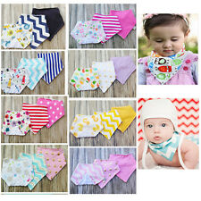 New 3Pcs Super Soft Baby Kid 100% Cotton Bandana Bib Cartoon Waterproof Bibs