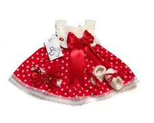 MiC Crafts Handmade Crochet Baby Set 3Pc Dress Headband Booties Polka Dots Red