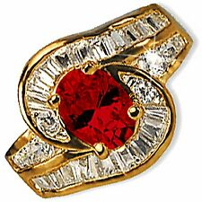 Red Cocktail Ring Oval Cubic Zirconia Yellow Gold Plate Fashion r233g