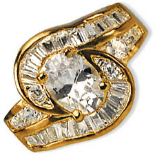 Oval-Cut Cocktail Ring Baguette Cubic Zirconia Yellow Gold Plated Fashion r243g