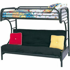Bunk Bed For Kids Futon Loft Black Sofa Couch Twin Over Full Ladder Metal