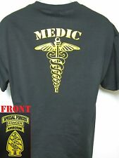 SPECIAL FORCES RANGER AIRBORNE T-SHIRT/ MEDIC/ GOLD/ MILITARY/ SOCM/  NEW