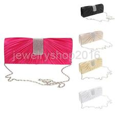 Shiny Crystal Ladies Envelopes Clutch Silk Evening Purse Shoulder Chain Hand bag