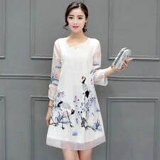 New Women White Crane Embroidery Vintage Plate Buttons Cheongsam A-line Dress