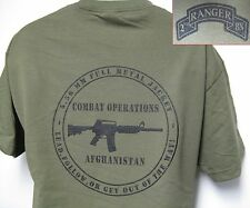 2nd RANGER BN T-SHIRT/ MILITARY/ AFGHANISTAN COMBAT OPS/ ARMY/ NEW