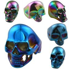 Gothic Biker Skull Head Skeleton 316L Stainless Steel Finger Ring Blue/Rainbow