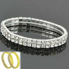 2 Rows Bling Crystal Rhinestone Stretch Bracelet Bangle Wedding Bridal Wristband