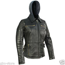 BXU1843 Xelement Womens Bully Classic Soft Cowhide Leather Jacket Zipout Hoodie