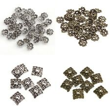 100pcs 8mm Retro Silver/Bronze Tone Flower & Square Hollow Style Bead Caps