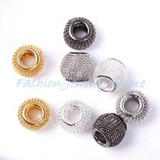 20pcs 12mm Silver/Golden/Black Basketball Wives Earrings Lots Spacer Mesh Beads