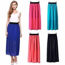 Womens Double Layer Vintage Pleated Chiffon Long Maxi Dress Elastic Waist Skirt
