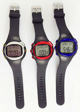 Black Sport Pulse Heart Rate Monitor Calories Counter Fitness Wrist Watch Red
