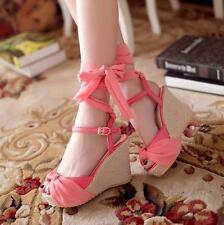 New Womens open toe roman beach sandals platform wedge heels ankle strap shoes