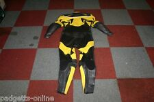 BELSTAFF BLACK YELLOW LADIES TWO PIECE MOTORCYCLE LEATHER SUIT SIZE UK 14 / D 42