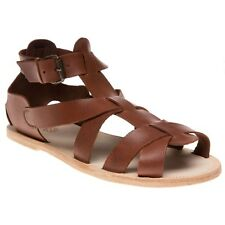 New Mens H by Hudson Brown Gladiator Leather Sandals Buckle
