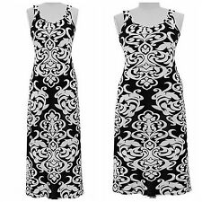 NEW Jon & Anna NY Black & White Damask Maxi Dress|Polyester|Spandex|Womens Plus