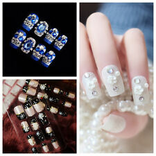 24pcs Fashion 3D Bride Wedding False Artificial Fake Nails Tips French NEW DS