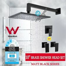 Black 10'' Brass Square Shower Head Set+Mixer Tap OR 1/4 Turn Vanity Taps Wels