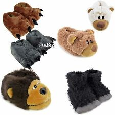 Adults,Kids Novelty 3D Plush Faux Fur Animal Gorilla Bear Design Slippers