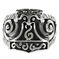 316L Stainless Steel Religion Rone Thor's Hammer Silver Finger Ring Mens Jewelry