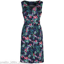 Pretty Kitty Fashion Vintage Navy Blue Floral Pencil 20's 40's Cocktail Dress