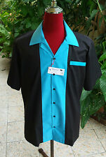 Men's Rockabilly Vintage 1950's Style  Retro Bowling Shirt  Black & Turquoise