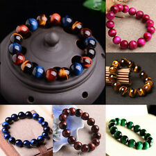 100% Natural AAA+ Gemstone Tigers Eye Stone Beads Woman Man jewelry Bracelet