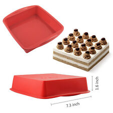 7.3*1.6 inch BIG Square Cake Pan Bread Chocolate Pizza Baking Tray Silicone Mold
