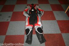 AGV SPORT BLACK SILVER RED MENS TWO PIECE LEATHER MOTORCYCLE SUIT VARIOUS SIZES