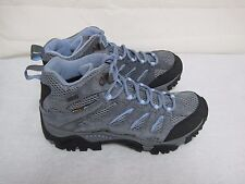 New! Womens Merrell Moab Mid Waterproof Hiking Boots J88792 GrayPeriwinkle 32H