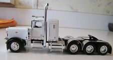 """DCP 1/64 WHITE PETE 389 WITH 36"""" SLEEPER TRI AXLE"""