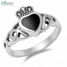 Celtic Forever Love Heart Ladies Crown Ring Solid 925 Sterling Silver Black Onyx